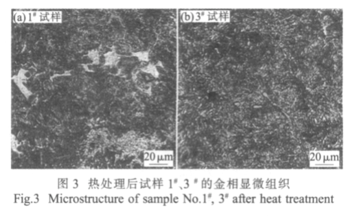 Fig.3 Microstructure of sample No.#1 and #3 after heat treatment