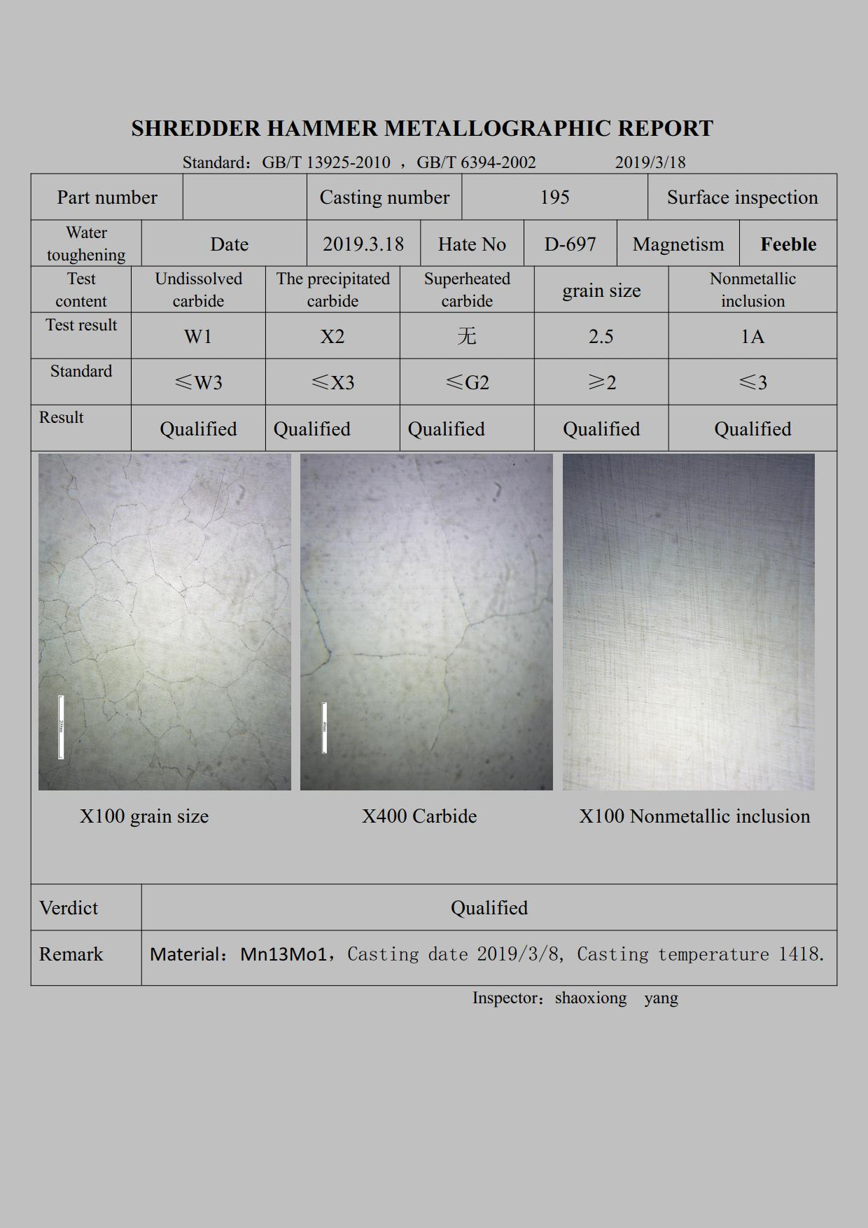 Rapporto metallografico del martello trituratore